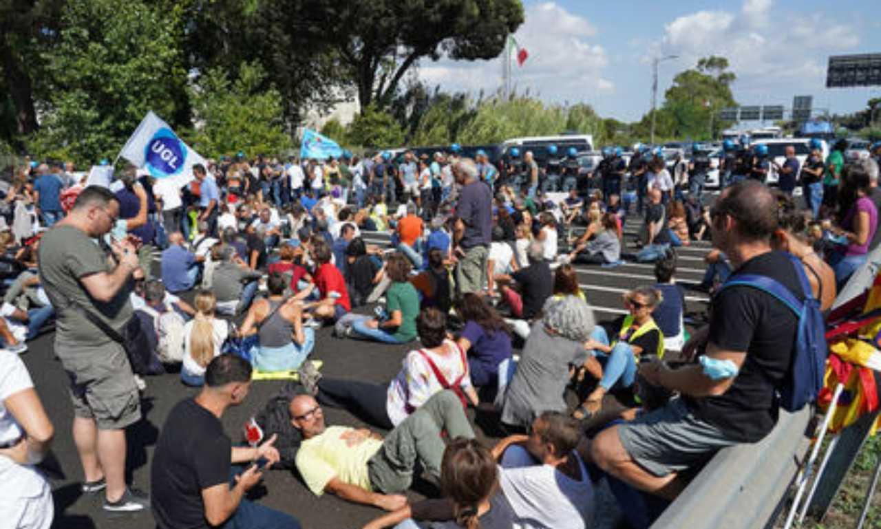 Manifestazione lavoratori Alitalia